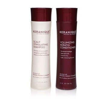 Keranique Scalp Simulating Shampoo and Volumizing Keratin Conditioner Set for Thinning Hair | Keratin Amino Complex, Sulfate, Dyes and Parabens Free, 8 Fl oz