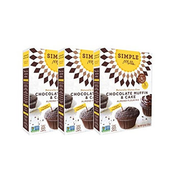 Simple Mills Almond Flour Mix, Chocolate Muffin & Cake, 10.4 oz, 3 count [Chocolate Muffin & Cupcake Mix]