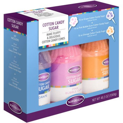 Englewood Marketing Group Nostalgia Electrics CCFS300 16oz Cotton Candy Flossing Sugar Jar Kit - 3pk