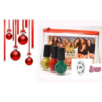 Konad Green+Gold+Red Special Nail Polish+Image Plate M44+Nail Stamper+Clear Airplane Travel Cosmetic Bag (Bundle of 6 Items)