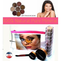 Itay Mineral Cosmetics 8 Stack Eye Shimmers in Nature Beauty+ Luminous, Glowing, Flawless Finish Full Size 9 Gram Foundation in MF6 Latte Macchiato+Eye Primer+Oval Eye Shimmer Brush+Airplane Travel Cosmetic Bag (Bundle of 5 Items)