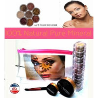 Itay Mineral Cosmetics 8 Stack Eye Shimmers in Nature Beauty+ Luminous, Glowing, Flawless Finish Full Size 9 Gram Foundation in MF5 Dulce de Leche+Eye Primer+Oval Eye Shimmer Brush+Airplane Travel Cosmetic Bag (Bundle of 5 Items)