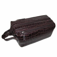 Croco Print Leather Toiletry Case (Brown)