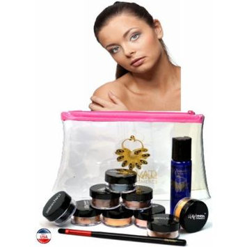 ITAY Mineral Cosmetics Au Naturel Collection 8 Singles+2.5 Gram Travel Size Full Coverage Foundation+Mica & Glitter Primer Bond+Oval Eye Shimmer Brush+Clear Airplane Travel Cosmetic Bag (Bundle of 12 Items) (MF5 Dulce de Leche)