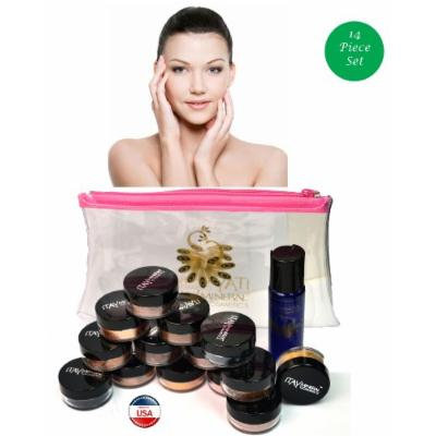 ITAY Mineral Cosmetics Au Naturel Collection 12 Singles+2.5 Gram Travel Size Full Coverage Foundation+Mica & Glitter Primer Bond+Oval Eye Shimmer Brush+Clear Airplane Travel Cosmetic Bag (Bundle of 16 Items) (MF1 Cream Marfil)