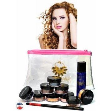 ITAY Mineral Cosmetics Au Naturel Collection 8 Singles+2.5 Gram Travel Size Full Coverage Foundation+Mica & Glitter Primer Bond+Oval Eye Shimmer Brush+Clear Airplane Travel Cosmetic Bag (Bundle of 12 Items) (MF7 Italian Biscotti)