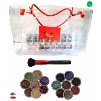 ITAY Mineral Cosmetics 2x8 Stack Eye Shadows in Rose-Belle+OroLinda+Powder Brush+Clear Gift Bag (Bundle of 4 Items)