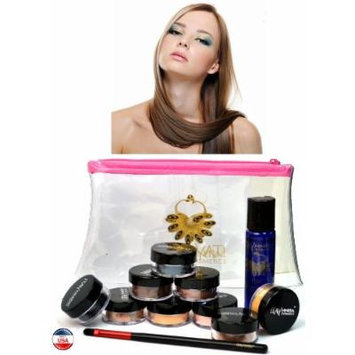 ITAY Mineral Cosmetics Au Naturel Collection 8 Singles+2.5 Gram Travel Size Full Coverage Foundation+Mica & Glitter Primer Bond+Oval Eye Shimmer Brush+Clear Airplane Travel Cosmetic Bag (Bundle of 12 Items) (MF2 French Vanilla)