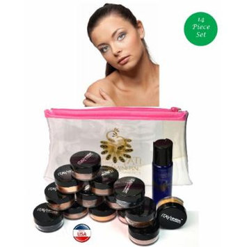 ITAY Mineral Cosmetics Au Naturel Collection 12 Singles+2.5 Gram Travel Size Full Coverage Foundation+Mica & Glitter Primer Bond+Oval Eye Shimmer Brush+Clear Airplane Travel Cosmetic Bag (Bundle of 16 Items) (MF5 Dulce de Leche)
