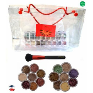 ITAY Mineral Cosmetics 2x8 Stack Eye Shadows in Orolinda+Nature Beauty+Powder Brush+Clear Gift Bag (Bundle of 4 Items)
