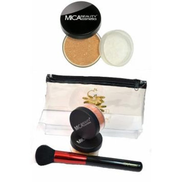 MicaBeauty Foundation 2x9 Gram MF10 Brown Points+Powder Brush+Travel Cosmetic Bag (Bundle of 4 Items)