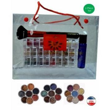 ITAY Mineral Cosmetics 3x8 Stack Eye Shadows+Mica & Glitter Primer Bond+ Powder Brush+Clear Gift Bag (Bundle of 5 Items) (Terra Linda+Rose-Belle+Best 4 Blue Eyes)