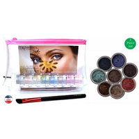ITAY Mineral Cosmetics 8 Stack Eye Shimmers in RoseBelle+Angle Eye Shadow Brush+Clear Airplane Travel Cosmetic Bag(Bundle of 3 Items)
