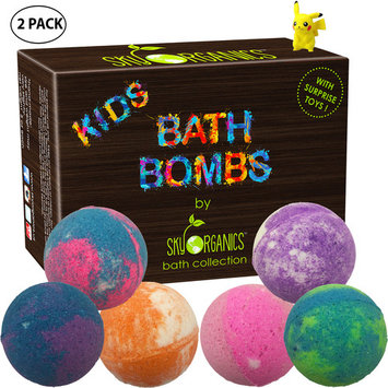Kids Bath Bombs Gift Set with Surprise Toys, 6x5oz (2 pack) Fun Assorted Colored XL Bath Bombs, Kid Safe, Gender Neutral with Organic Essential Oils –Handmade in the USA Organic Bubble Bath Fizzy