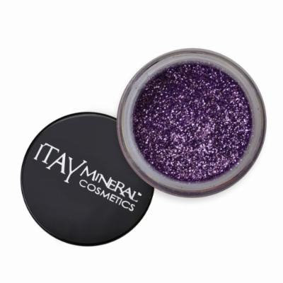 ITAY Mineral Cosmetics 1 Glitter Powder+Mica & Glitter Primer and Bond+Eye Shimmer Brush+ Clear Airplane Travel Cosmetic Bag (Bundle of 4 Items) (G09 Violet)