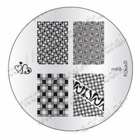 Konad Gold Black+White Special Polish+Image Plate+Clear Airplane Travel Cosmetic Bag (Bundle of 4 Items) (M96)
