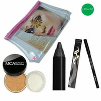 (Bundle of 3 Items)MicaBeauty Full Size Foundation MF3 Toffee+Eye Gel Pen+Travel Cosmetic Bag (Chocolate)