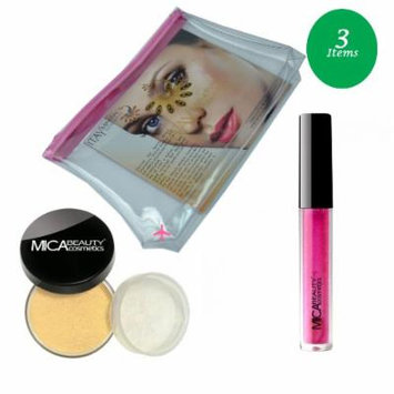 (Bundle of 3 Items)MicaBeauty Full Size Foundation MF2 Sandstone+Lip Plumper+ Airplane Travel Cosmetic Bag (Bronze)