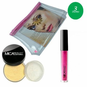 (Bundle of 3 Items)MicaBeauty Full Size Foundation MF1 Porcelain+Lip Plumper+ Airplane Travel Cosmetic Bag (Bronze)