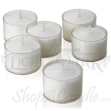 Light In The Dark 72 White Tealight Candles With Clear Cups Burn 8 Hour