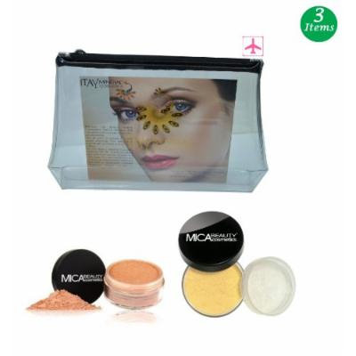 (Bundle of 3 Items)MicaBeauty Full Size Foundation MF4 Honey+Face & Body Bronzer+Airplane Travel Cosmetic Bag (FB1 Bronze)