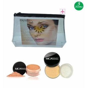 (Bundle of 3 Items)MicaBeauty Full Size Foundation MF7 Lady Godiva+Face & Body Bronzer+Airplane Travel Cosmetic Bag (FB1 Bronze)