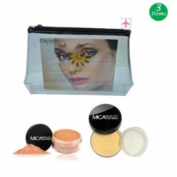 (Bundle of 3 Items)MicaBeauty Full Size Foundation MF2 Sandstone+Face & Body Bronzer+Airplane Travel Cosmetic Bag (FB1 Bronze)