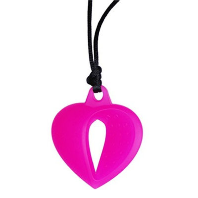 KidKusion Gummi Teething Necklace Heart, Pink