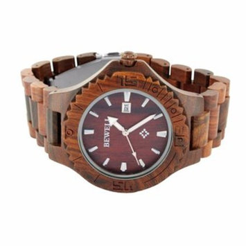 Red Sandalwood Mens Watch Analog With Date Bewell 100% Natural Wood Unique Style