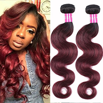 Comely Hair Two Tone Body Wave Human Hair Bundles 1b/99j (Black Burgundy) Ombre Brazilian Hair Body Wave Virgin Human Hair Extensions