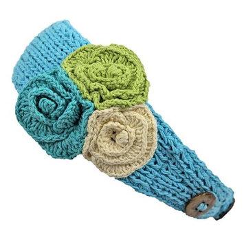 Crochet Headband With Three Knit Flowers