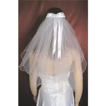 Ivory Flower Girl 2 Tier Wedding Communion Veil Satin Ribbon Bow Beaded Cross