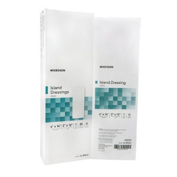 McKesson - Adhesive Dressing McKesson 4 X 14 Inch Polypropylene / Rayon Rectangle White Sterile - 25/Box - McK