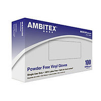 AMBITEX VMD5201 Disposable Gloves, Vinyl,M,Clear, PK100