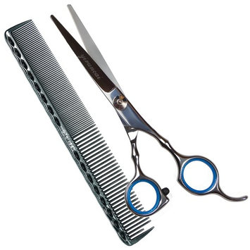 Professional Barber Razor Edge Hair Cutting Scissors/Texturing Shears-6 Inch-420 Stainless Steel,with Comb and Adjustable Finger Inserts