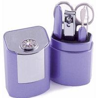 5 Piece Manicure Set With Swarovski Elements in Case - Lilac