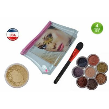 (Bundle of 4 Items) Itay Mineral 1x Travel Size 2.5 Gram Foundation in Mf10 Pan Dulce+ 8 Stack Eye Shimmers in
