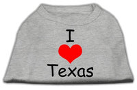 Mirage Pet Products 5138 XLGY I Love Texas Screen Print Shirts Grey XL 16