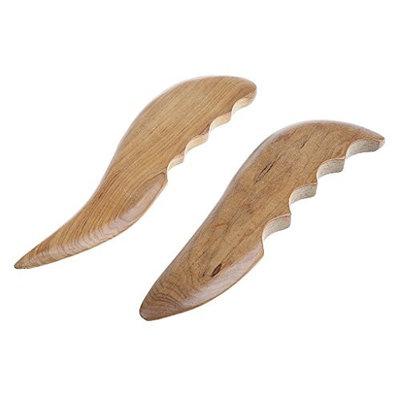 Homyl 2pcs Natural Sandalwood Gua Sha Massage Tool Chinese Guasha Back Body Scraping Stick - A