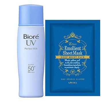 Biore UV Sarasara Perfect Milk 40ml & Facial Sheet Mask, SPF50+/PA++++, Waterproof