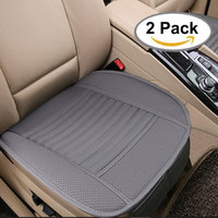 Big Ant Breathable 2pc Car Interior Seat Covers Cushion Pad Mat for Auto Supplies Office Chair with PU Leather Bamboo Charcoal(Grey)