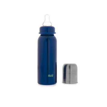 organicKidz Stainless Steel Narrow Necked Baby Bottle, 7 Ounce, Blue