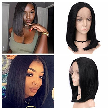 Quantum Love Lace Front Wigs Middle Part Short Bob Wig Heat Resistant Glueless Straight Synthetic Wigs For Women 14Inch Natural Black Color