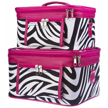 2-Piece Zebra Print Cosmetic Train Case Set, Black and White with Green Trim
