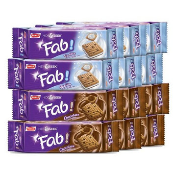 Parle, Fab! Cookies, Chocolate and Vanilla Flavors, Packages of 6 each, 3.94 oz. Each (Pack of 12)