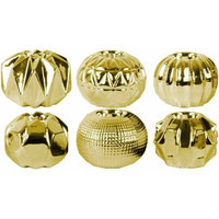 Urban Trends Collection Ceramic Round Tealight Candle Holders Assortment of Six Polished Chrome Finish Gold