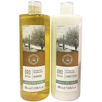 Baronessa Cali Oro D'Oliva Hair Care Set: Shampoo and Conditioner with Organic Olive Tree Leaves Extract - Clean, Shiny, Manageable Hair - 12.84 Ounce