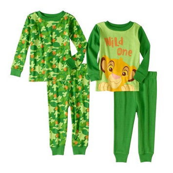 The Lion King Lion King Newborn Baby Boys' Cotton Tight Fit Pajamas, 4-Piece Set