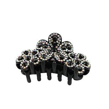 Homyl Women Girls Rhinestone Crystal Large Flower Hair Claw Clip Hair Accessories for Party - Black