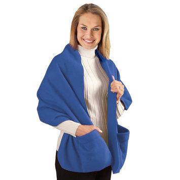 Fleece Wrap Shawl With Pockets, Royal Blue